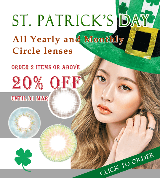 20% off on ordering one year and monthly disposable circle lenses until 31th March